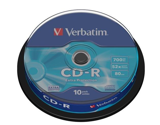 Cd-r verbatim 700 mb 52x extra prot tarrina 10 uds
