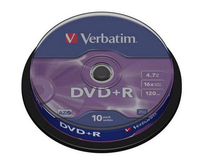 Dvd+r verbatim 4,7 gb 16x tarrina 10 uds