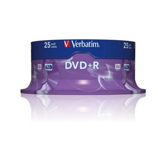 Dvd+r verbatim 4,7 gb 16x tarrina 25 uds