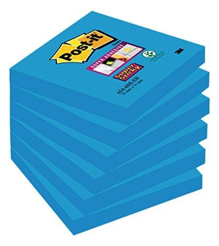 Notas adhesivas 76x76 post-it 6 blocs azul mediterraneo