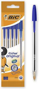 Boligrafo bic cristal medio blister 5 uds azul 802052