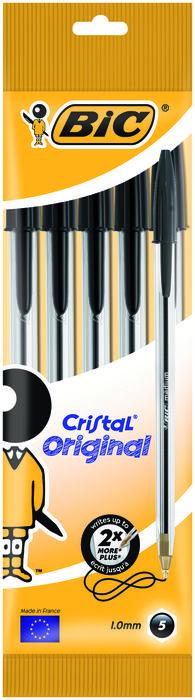 Boligrafo bic cristal medio blister 5 uds negro 802051