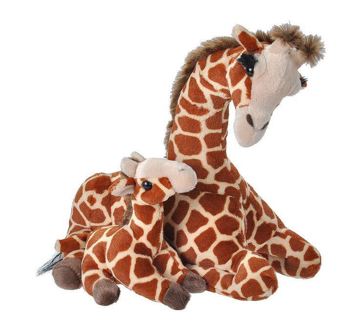 Peluche animal mama y bebe jirafa