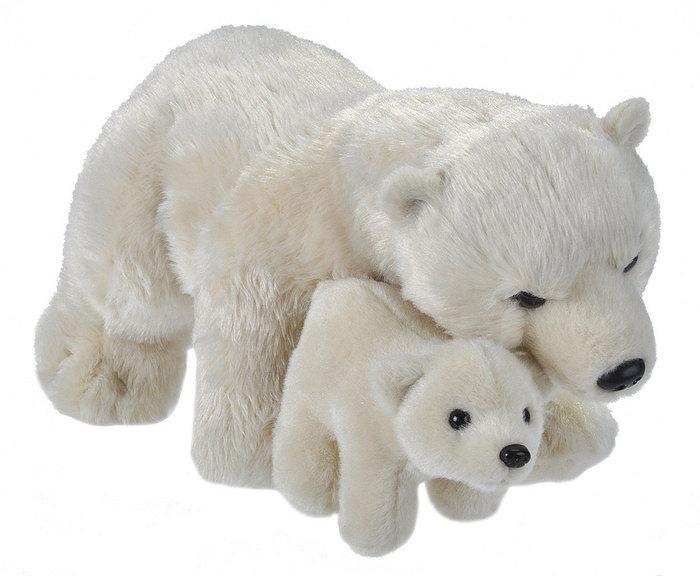 Peluche animal mama y bebe oso polar