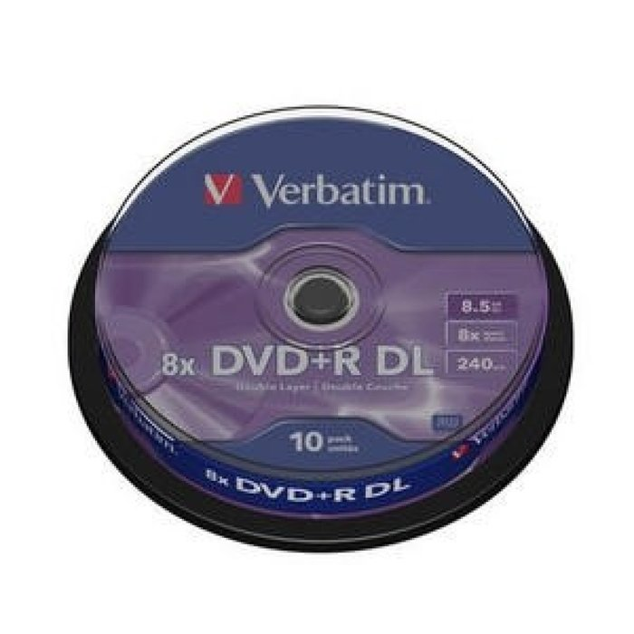 Verbatim dvd+r doble capa 8,5gb 8x tarrina 10 unidades