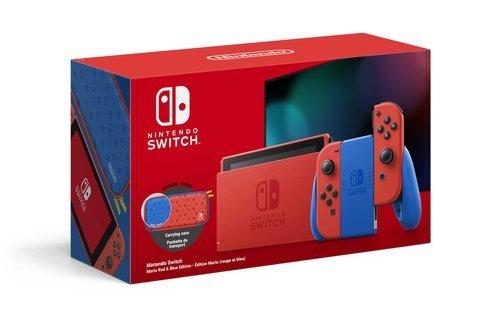 Nintendo switch edicion super mario rojo/azul + accesorios