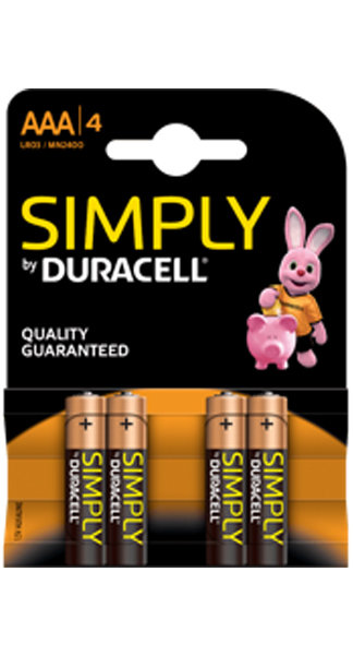 Pila alcalina duracell simply aaa lr03 blister 4 uds