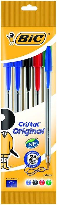 Boligrafo bic cristal medio blister 5 uds surtido 802054