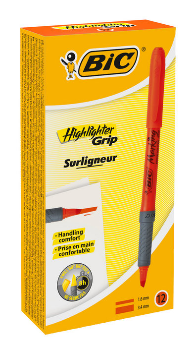 Marcador bic highlighter grip 1.6 mm naranja