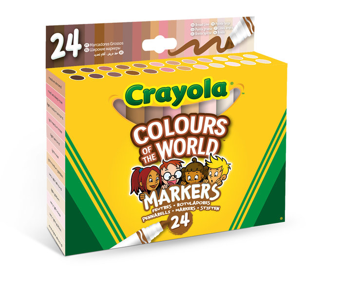 Rotulador crayola maxi punta 24 colores colours of the world