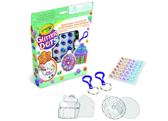 Set glitter dots llaveros con charms de pastelitos