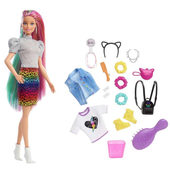 MuÑeca barbie pelo arcoiris guepardo rubia