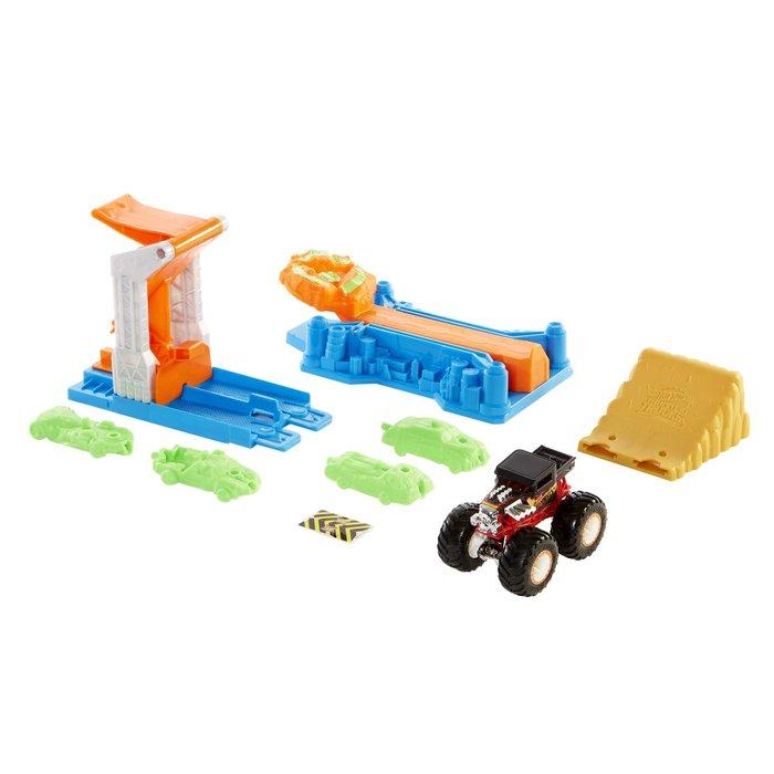 Monster trucks set de juego explosion de coches