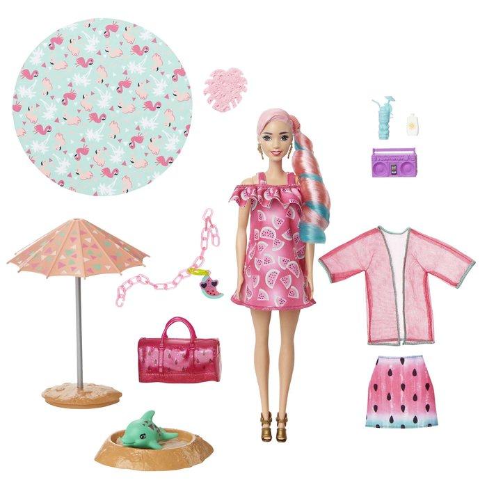 MuÑeca barbie color reveal con espuma sandia
