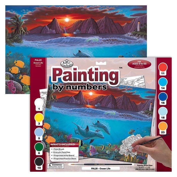 Pintar por numeros 13 piezas oceano