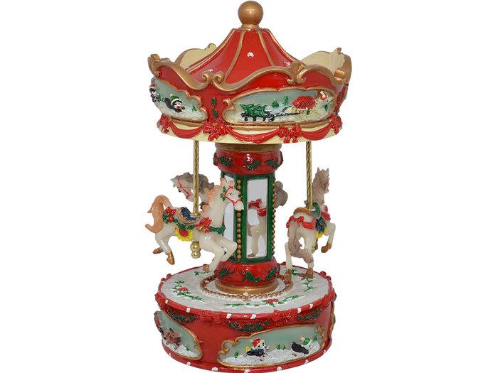 Carrusel musical christmas rojo 14x25 cm