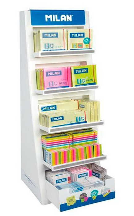 Expositor milan notas adhesivas y puntos de pagina 214 uds