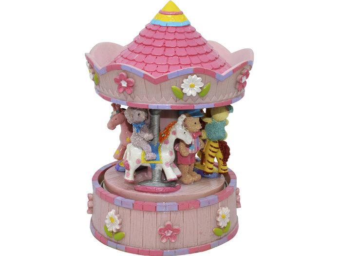 Carrusel musical pequeÑo rosa animales 11x17cm