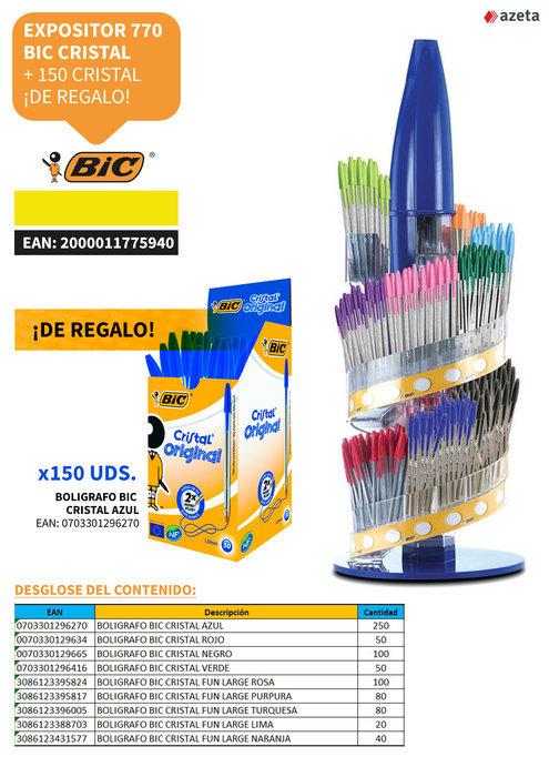 Expositor 770 bic cristal +150 bic cristal+ 24 marcadores