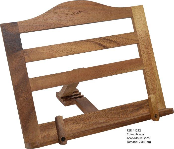 Atril madera pÑo acacia c/clips 375 25x21cm