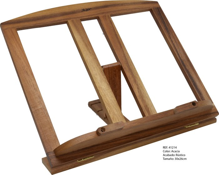 Atril madera mediano acacia c/clips 709 30x26cm