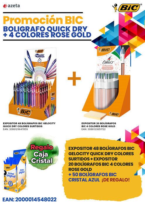 Promocion boligrafo quick dry + 4c rose gold + 50 bic grati