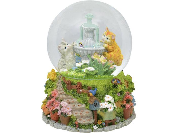 Bola musical gatos en fuente 11x14 cm
