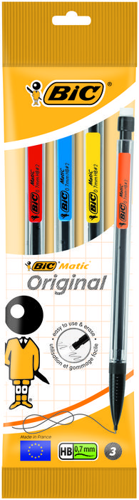 Portaminas bic matic classic 0,7mm pack 3 unidades