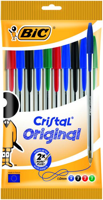 Boligrafo bic cristal medio blister 10 uds surtido 830865