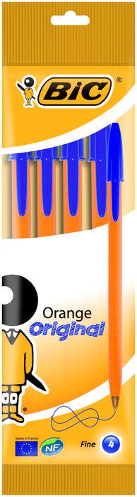 Boligrafo bic naranja fino blister 4 uds azul 8308521
