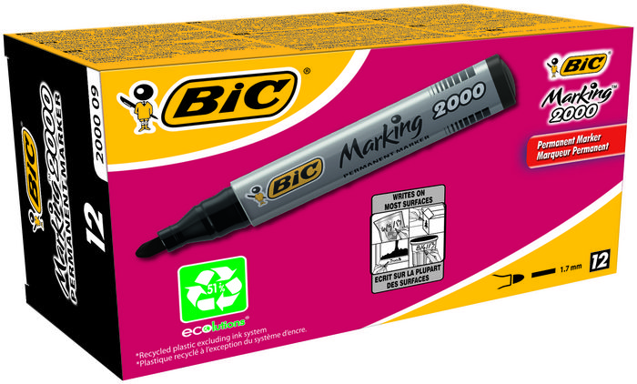 Rotulador bic permanente conico negro ecolutions