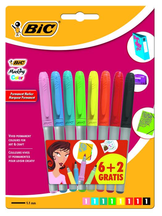 Marcador bic marking colour blister 6+2 8727862