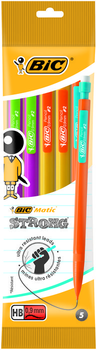 Portaminas bic matic strong 0,9mm pack 5 unidades