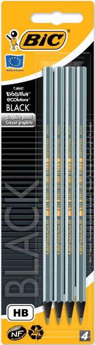 Lapiz grafito bic evolution negro eco blister 4 uds 896016