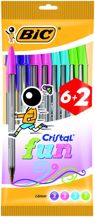 Boligrafo bic cristal 1.6 fun blister 6+2 uds surti 8963811