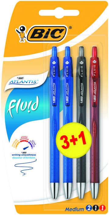 Boligrafo bic atlantis fluid blister 4 unidades surtidas