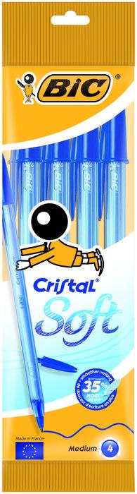 Boligrafo bic cristal soft blister 4 uds azul 918527