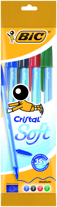 Boligrafo bic cristal soft blister 4 uds surtido 918530