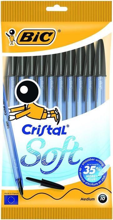 Boligrafo bic cristal soft negro pack 10 unidades surtidas