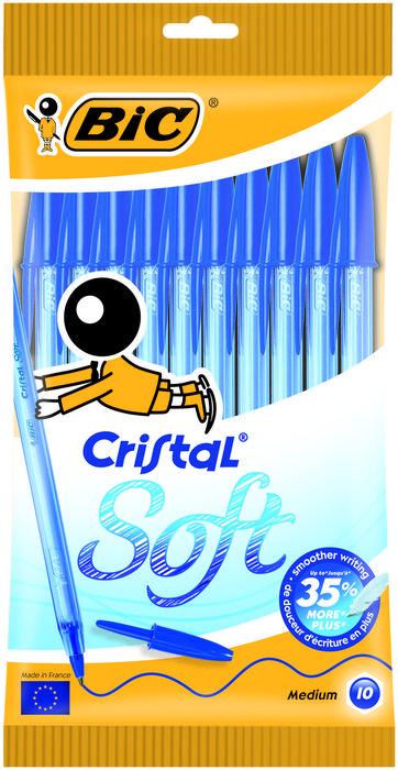 Boligrafo bic cristal soft blister 10 uds azul 918532