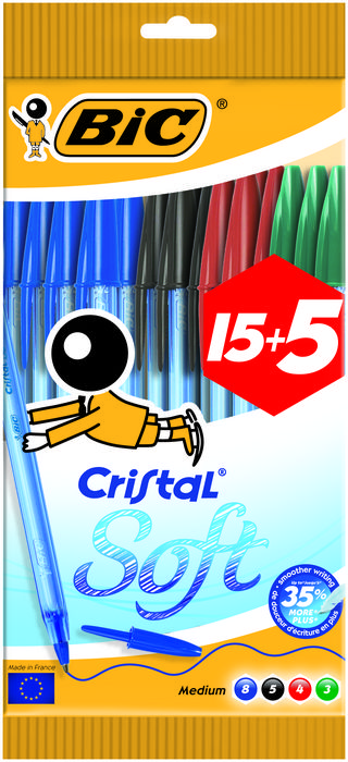 Boligrafo bic cristal soft blister 15+5 uds surtido 918536