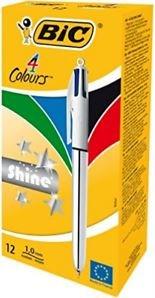 Boligrafo bic 4 colores shine silver