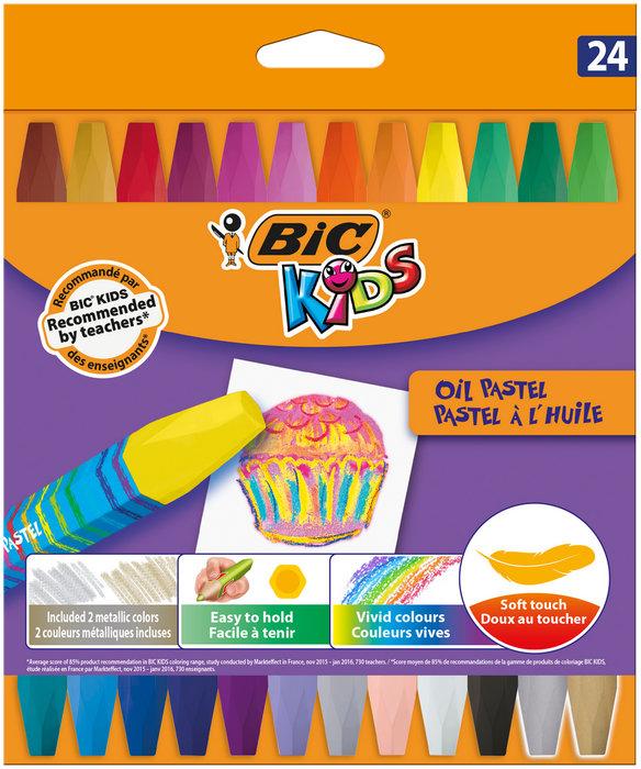 Ceras bic kid oil pastel 24 colores surtidos