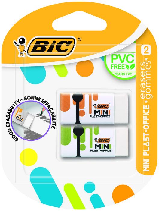 Goma borrar bic mini plast office blister 2 unidades 927858
