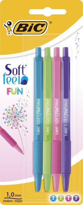 Boligrafo bic soft feel clic fun blister 4 uds surti 942051