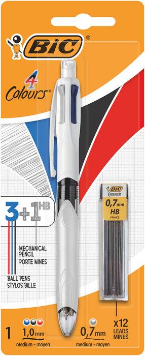 Boligrafo bic 4 colores multifuncion blister + minas 942103