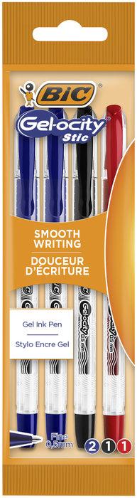 Boligrafo bic gelocity stic blister 4 uds azul/rojo/negro