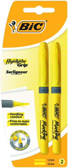 Marcador bic fluor brite liner grip amarillo bl 2 ud 824755