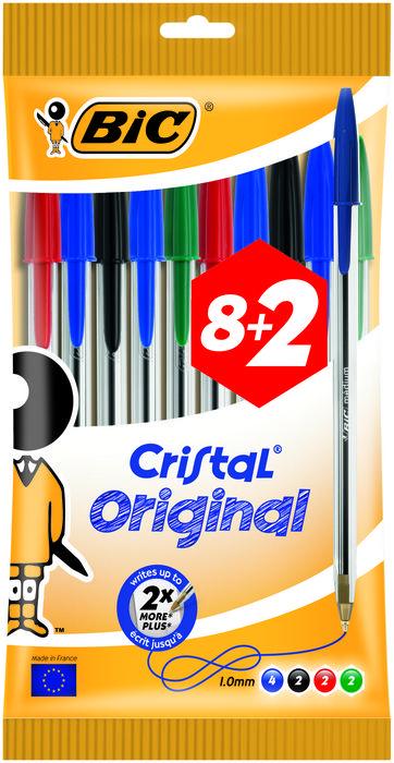 Boligrafo bic cristal medio blister 8+2 uds surtido 847817