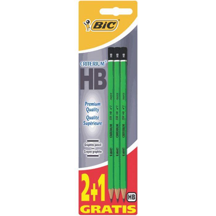 Lapiz grafito bic criterium 550 hb blister 2+1 uds 861137